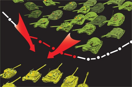 intruder: Drawn in doodle style illustration of an abstract border line and tanks invasion, concept of war and aggression Illustration