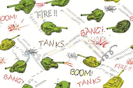 intruder: Funny armored tanks drawn in doodle style, moving across seamless pattern