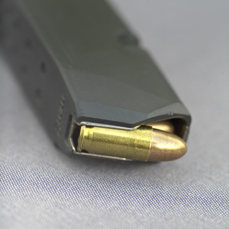 loaded: Extremely closeup shot of a loaded clip or magazine