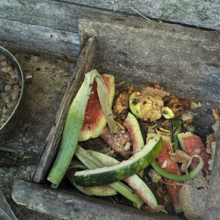 leftovers: Overhead shot of colorful organic leftovers in the wooden container