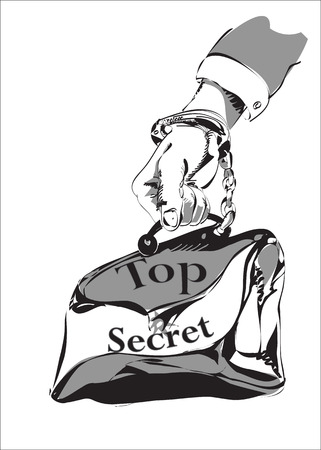 top secret: Sketch of a male hand tethered by handcuff to briefcase with Top Secret sign, in black and white