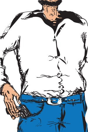 mobster: Illustration in doodle style of a man pulling a pistol out of his pocket