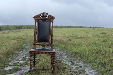 tiredness: Abandoned carved wooden chair in the open field, concept of tiredness or relaxation. Stock Photo