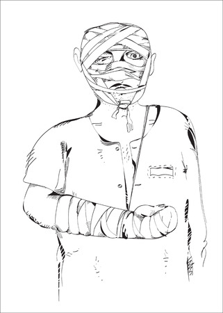 bruise: Illustration of a man with broken arm and bandage on his head, on white Illustration