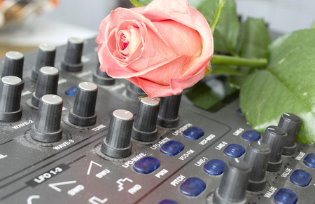 synthesize: Red rose on the synthesizer, closeup indoor shot, concept of creativity