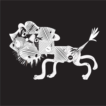 balck: Illustration of a paper or material cutout of a lion, on black Illustration