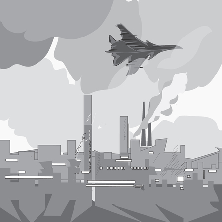 Illustration of a modern military jet flying over industrial city scape, concept of modern conflicts Illustration