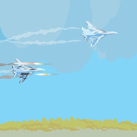 jets: Illustration of military jets launching missiles, concept of modern conflicts