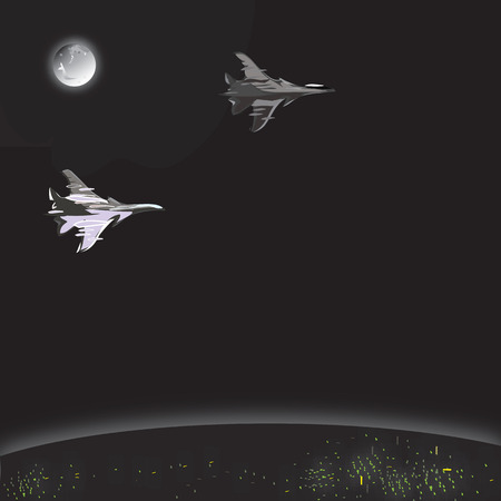 jets: Illustration of military jets flying through the night, concept of modern conflicts