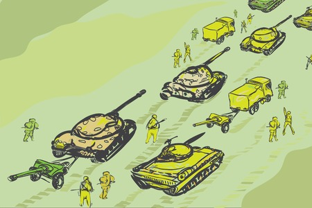 convoy: Military convoy of tanks, infantry and howitzer, hand drawn illustration