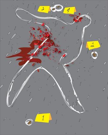 crime scene: Crime scene illustration. dead body outline drawn on the ground Illustration