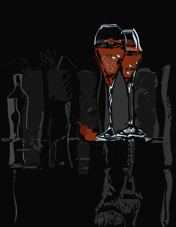 artistic addiction: Wine glasses and bottles with red cherry, hand drawn illustration on black