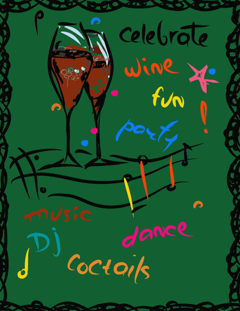 tipsy: Wine glasses, music and fun. parties background, hand drawn illustration on green