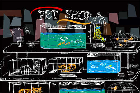 pet shop: Pet shop with birds and animals in cages, hand drawn illustration on black