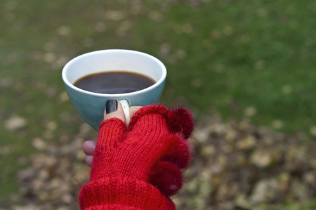 carefully: Outdoor shot of female hand in red glove carefully holding a cup of hot tea or coffee Stock Photo