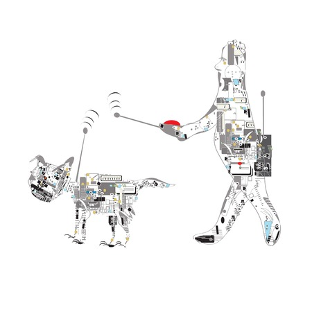 remote control: Male robot walking with a robot dog using remote control, concept of future technologies