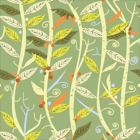 interlacing: Interlacing leaves and branches, seamless pattern on green Illustration