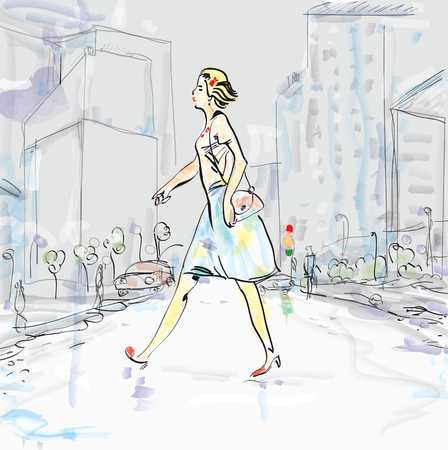 hectic life: Illustration of a young woman wearing dress and high heels crossing the street. Urban landscape in the blurred background