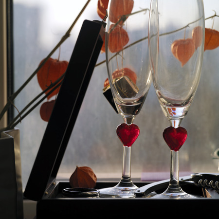 lavish: Two wine glasses, flowers and gift box against the window, square shot, concept of romantic relationship