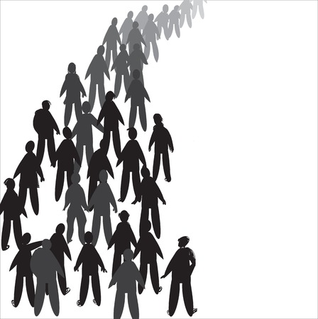 waiting line: Illustration of people silhouettes waiting in line, in black and white