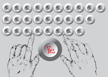 Hände tippen auf Computer-Tasten markiert nur mit Ja oder Nein, von Hand gezeichnete Illustration, Konzept der Bürokratie