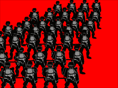commando: Rows of soldiers standing shoulder to shoulder, concept of  war, illustration on red
