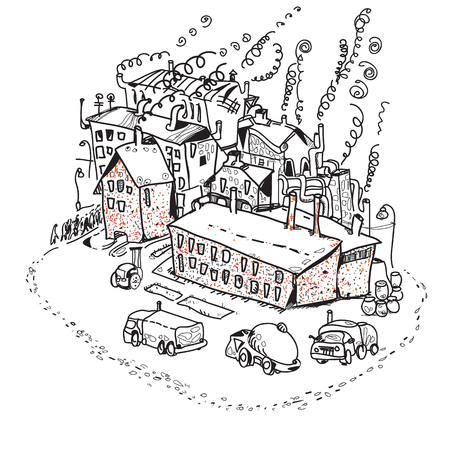 clipart chimney: Hand drawn illustration of a factory, chimneys, pollution and transport. Black and white