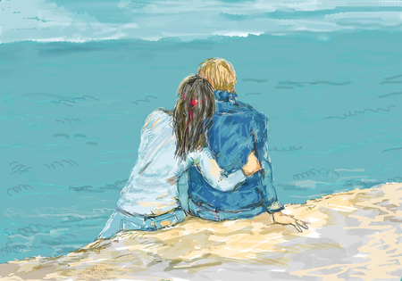 Young couple sitting together on a sea shore, hand drawn illustration about love and people relationship