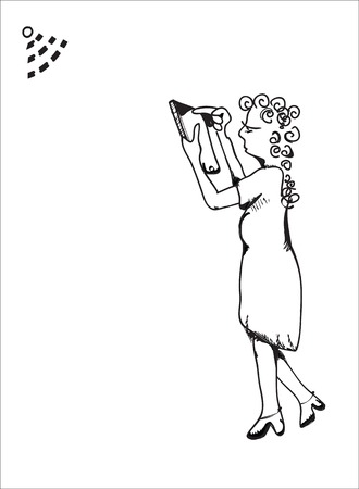 woman tablet: A drawn woman with a tablet in her hands searching for WiFi signal, illustration on white Illustration