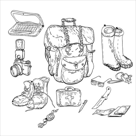 survival: Travel background and survival kit, drawing in doodle style in black and white