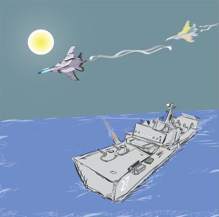 jets: Illustration of the military jets attacking a warship, concept of modern conflicts