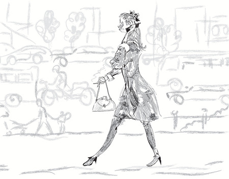 hectic: Sketch of a modern young woman walking  and talking on mobile, busy street in the blurred background