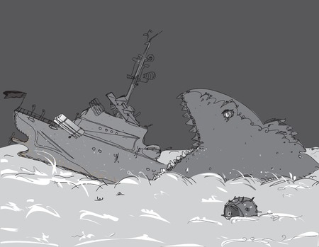 sea disaster: A monster whale swallowing a warship, concept of a disaster on a sea, illustration in black and white