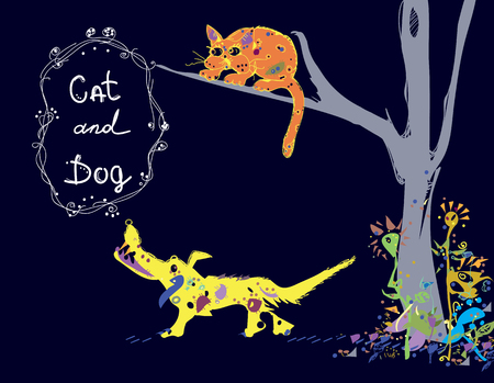 manner: Illustration of a dog barking on a cat, sitting high on a tree , isolated  hand drawn image in primitive manner Illustration