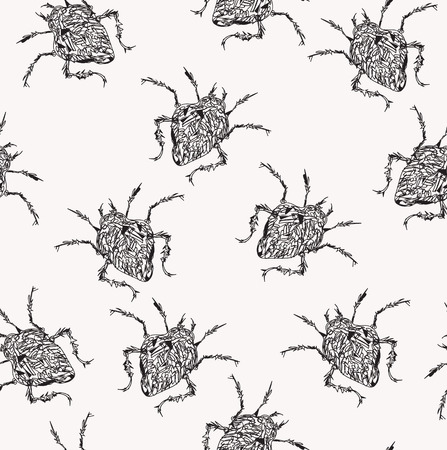crawling: Abstract crawling bugs, seamless hand drawn in black and white Illustration