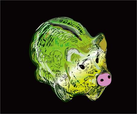 clip art cost: A pig - money pot, painted like a dollar bill, illustration on black, concept of savings