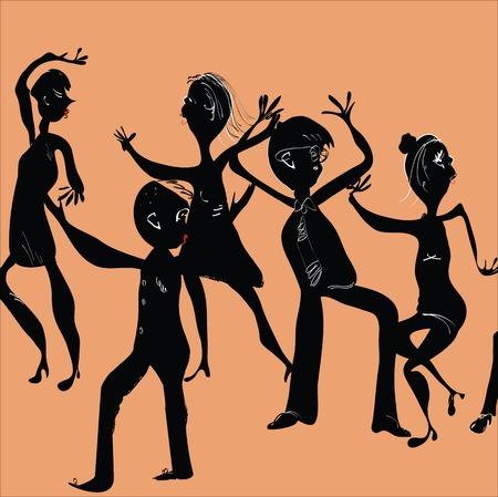 Illustration of funny people dancing on a dance floor Illustration