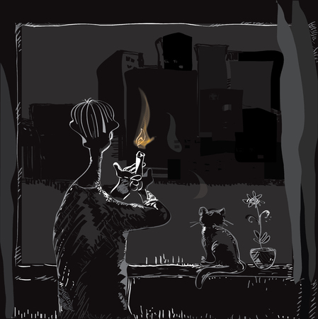 blackout: Illustration of a man with a candle in hands looking at the dark collapsed city through the window, concept of blackout