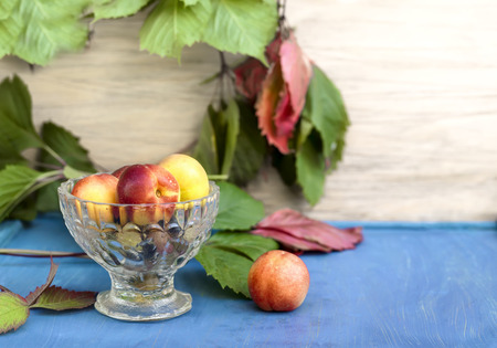cropped shot: A glass vase full of fresh apricots on a blue table, front cropped shot Stock Photo