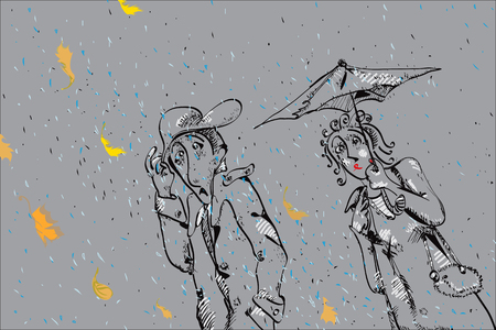 nasty: Couple walking with umbrella in a nasty autumn day, illustration in doodle style on grey Illustration