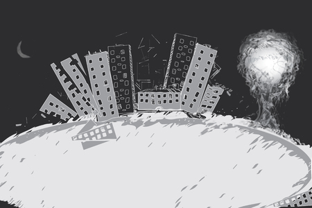 Nuclear bomb explosion with a ruined city in the foreground, concept of disaster, illustration in black and white