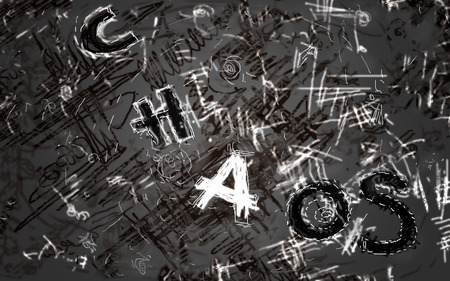 coincidence: Illustration of chaotic motion, lines, dots and hand drawn text Chaos