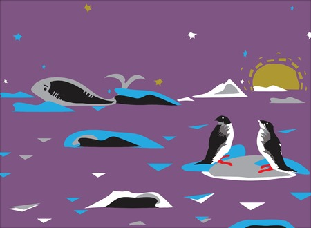 manner: Penguins on a drifting ice and a whale in the background, wildlife of Antarctica drawn in simple manner Illustration