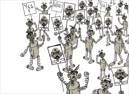 demonstration: Crowd of human like robots or aliens on demonstration carrying the portraits of his leader, illustration in doodle style Illustration