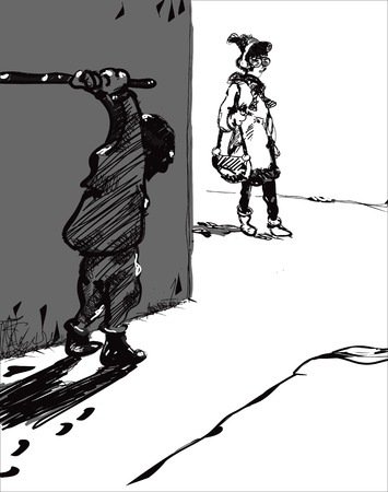struck: Sketch of a hooligan waiting a victim with a stick in his hands, in black and white Illustration