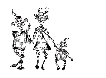 going out: Happy family of robots or aliens going out, sketch in black and white Illustration