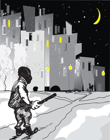 hooligan: Sketch of a hooligan with a stick in his hand, night city in the background Illustration