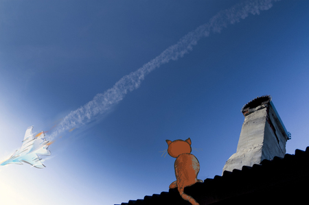 Illustration of a military jet flying high across a blue sky producing a striking contrail cloud behind it on and a cat sitting on a house top Stock Photo