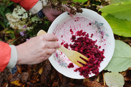 Throwing Away Food Waste Stock Photo