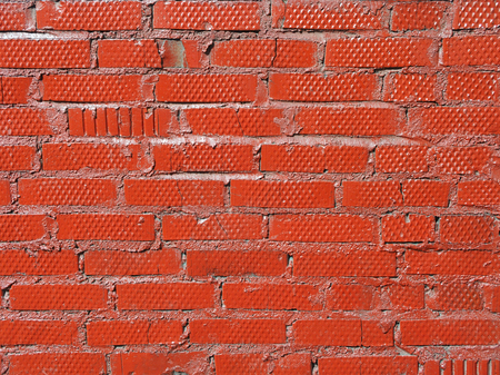 New red bricks arranged in the rows, outdoor closeup